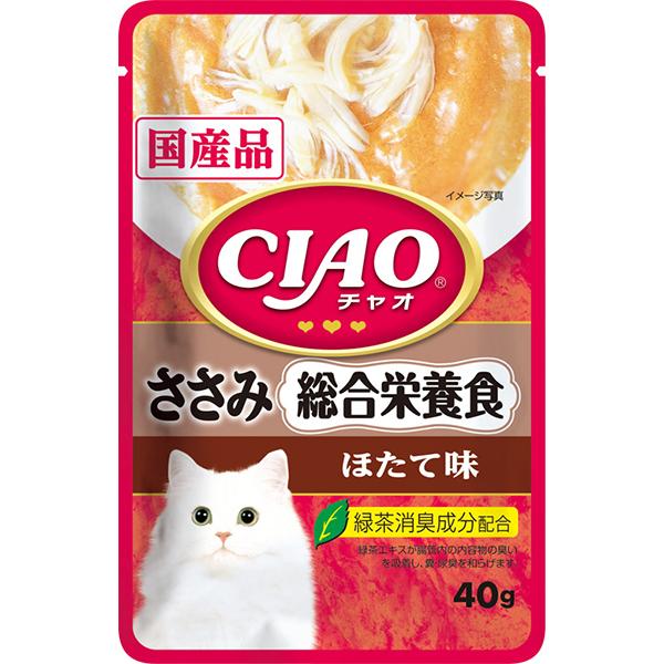 【単品】チャオパウチ 総合栄養食 ささみ ほたて味 40g