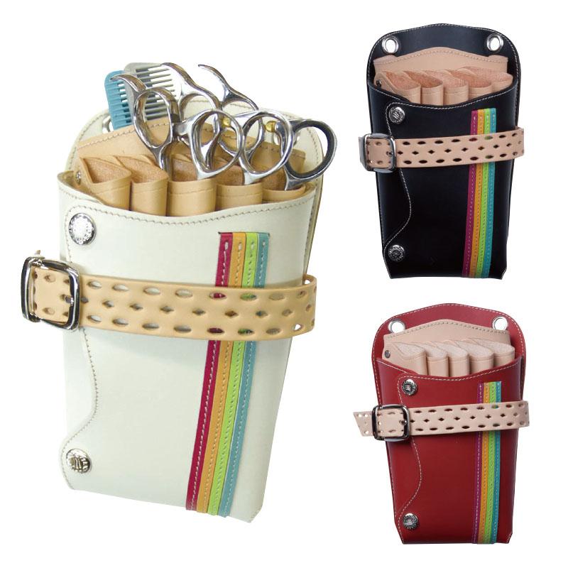 シザーベルト シザーバッグ 5丁用 SHT-Rainbow(レインボー) ハサミ 美容師 トリマー プロ用 業務用 サロン用 レザー