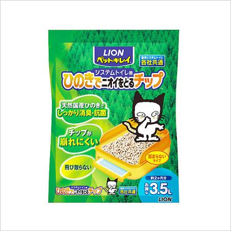 ライオン ペットキレイ システムトイレ用 ひのきでニオイをとるチップ 3.5L
