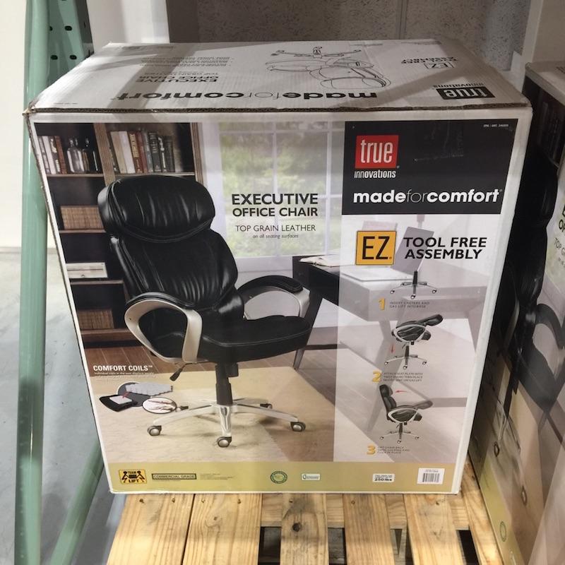 【送料無料】家具・オフィス】【コストコ】TRUE INNOVATIONS エグゼクティブ オフィス チェア<レザー/革><ブラック> made for comfort【Z】