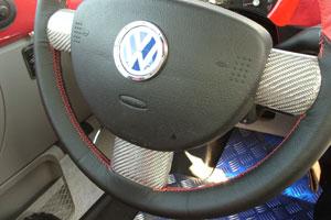 ニュービートル ステアリングスポークカバー (シルバーカーボン) 3pcs 内装パーツ VW フォルクスワーゲン