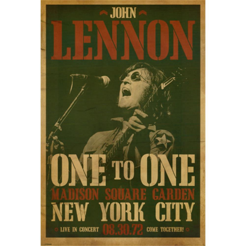 RockEntertainment公式グッズ 正規ライセンスアイテム 格安 JOHN LENNON ジョンレノン Live in New York 公式 ポスター Concert オフィシャル to 人気ブレゼント! One 発売35周年 - City