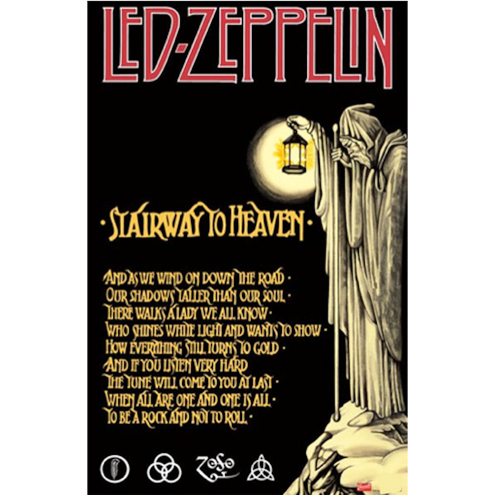 RockEntertainment公式グッズ 正規ライセンスアイテム LED ZEPPELIN 期間限定今なら送料無料 レッドツェッペリン - To 公式 ポスター Heaven オフィシャル 開催中 Stairway