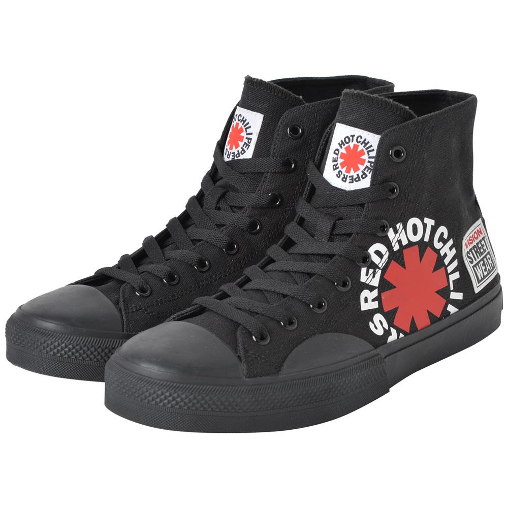 RED HOT CHILI PEPPERS レッチリ (デビュー35周年記念 ) - Canvas HI RHCP Black / VISION STREET WEAR(ブランド) / スニーカー / メンズ 【公式 / オフィシャル】