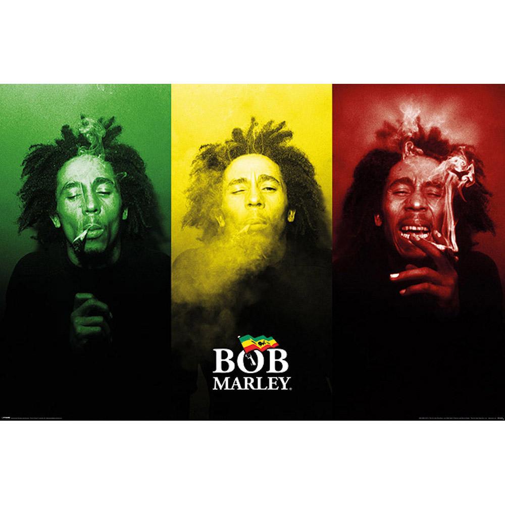 送料無料 RockEntertainment公式グッズ 正規ライセンスアイテム チープ BOB MARLEY ボブマーリー 追悼40周年 オフィシャル Smoke ポスター - Tricolour 公式