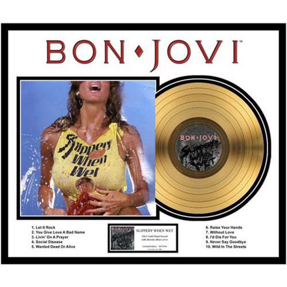 来日記念 BON JOVI ボン・ジョヴィ - Slippery When Wet / GOLD DISC / インテリア額 【公式 / オフィシャル】