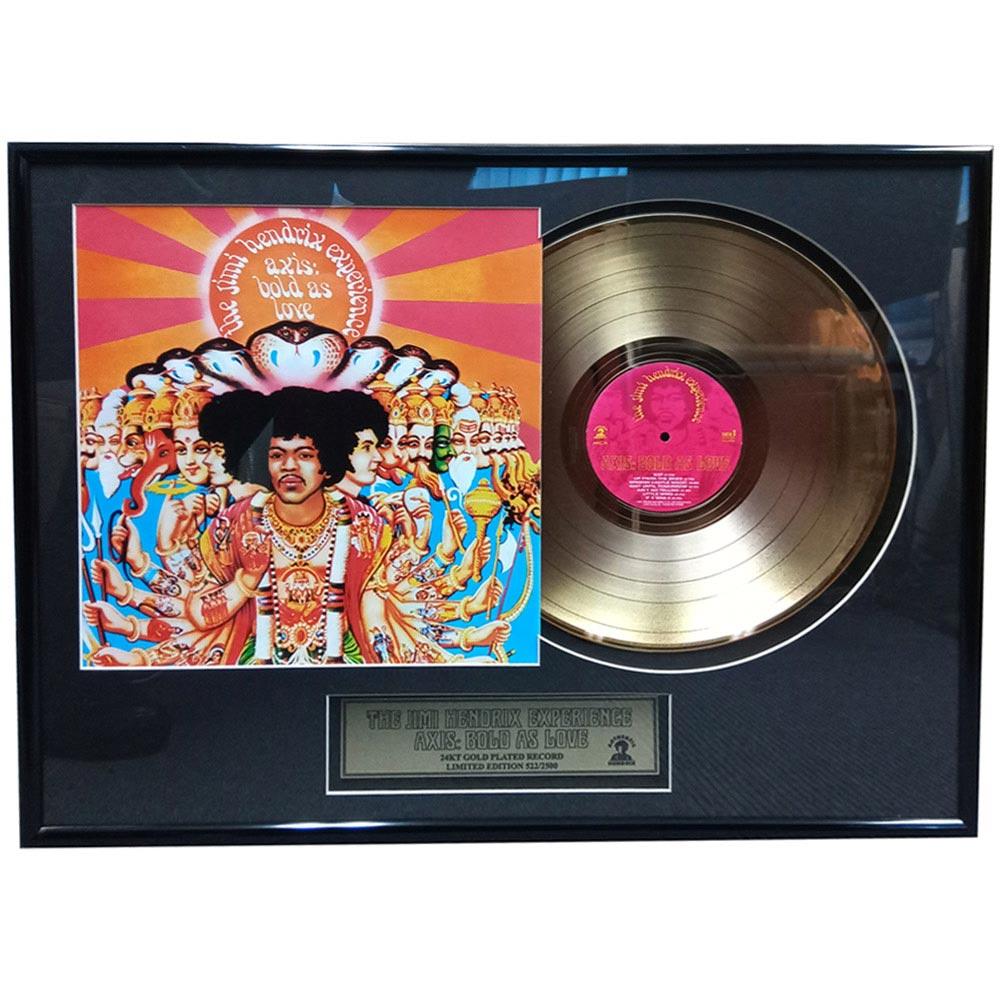 生誕75周年記念 JIMI HENDRIX ジミヘンドリックス - 'Axis: Bold As Love' gold LP / インテリア額 【公式 / オフィシャル】