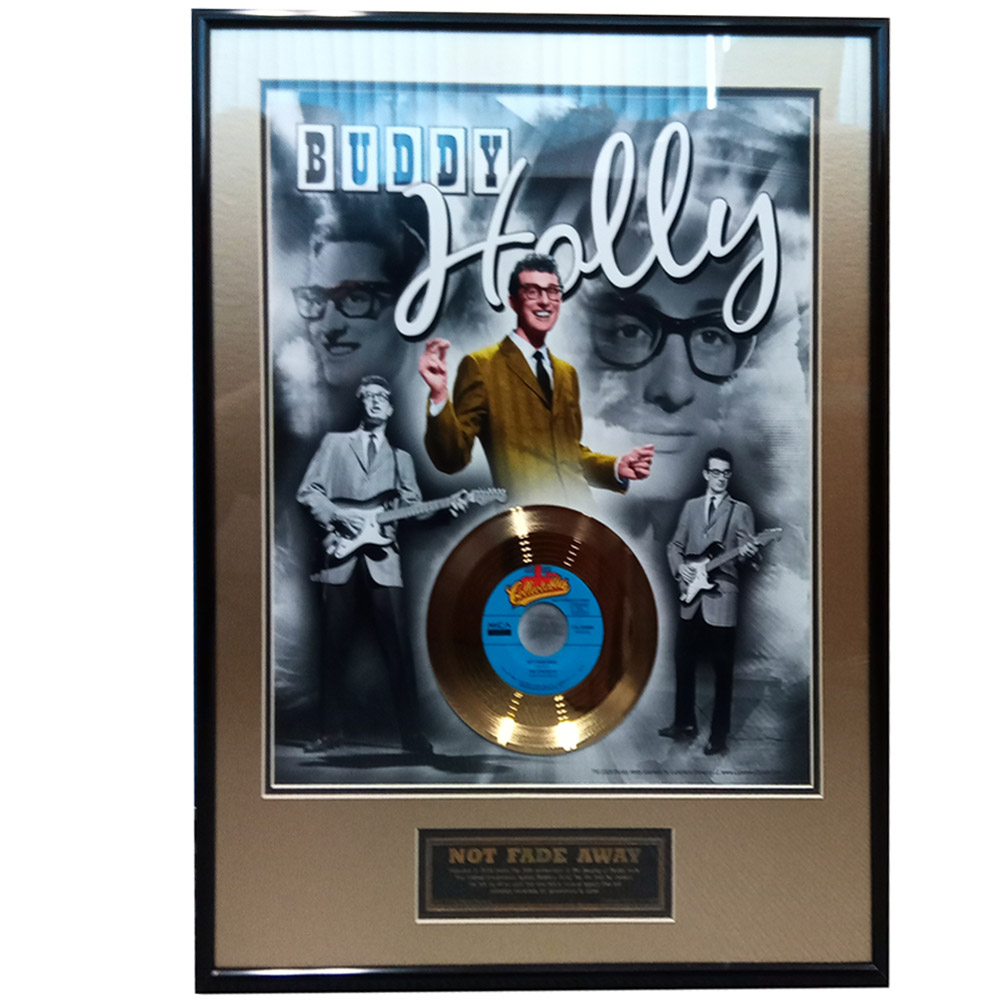 BUDDY HOLLY バディホリー - 'Not Fade Away' 50th Anniversary / GOLD DISC / インテリア額 【公式 / オフィシャル】