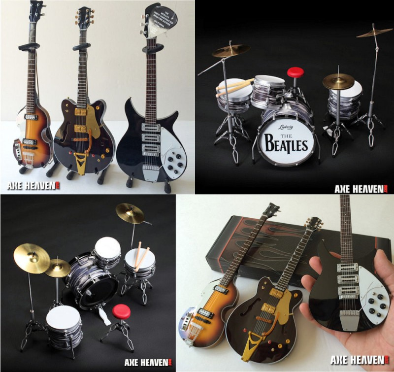 BEATLES ビートルズ Fab Four ミニチュア・セット/ ギター&ドラム / ミニチュア楽器 【公式 / オフィシャル】