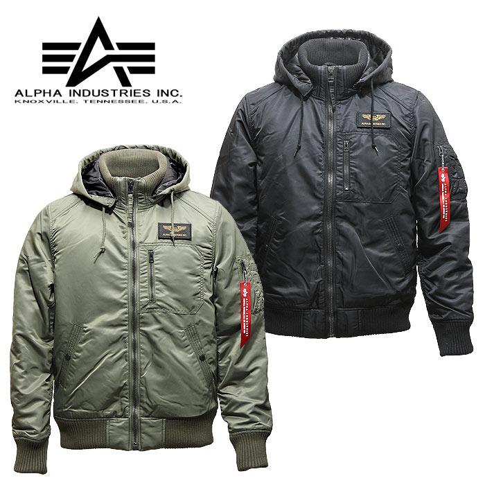 ALPHA TA1330 フーデッドリブジャケット【アルファ hooded rib jacket】メンズ ミリタリー カジュアル フライトジャケット