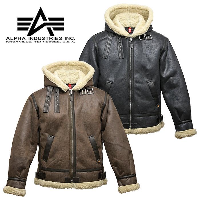 ALPHA TA1399 フード付き フェイクムートン B-3【アルファ Hooded Fake Mouton】メンズ ミリタリーカジュアル 合皮 フライトジャケット