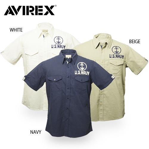AVIREX 6125043 アンカー S/Sシャツ 【【アヴィレックス・アビレックス】メンズ ミリタリー カジュアル クロスステッチ刺繍 U.S.NAVY 海軍 アンカー イカリ