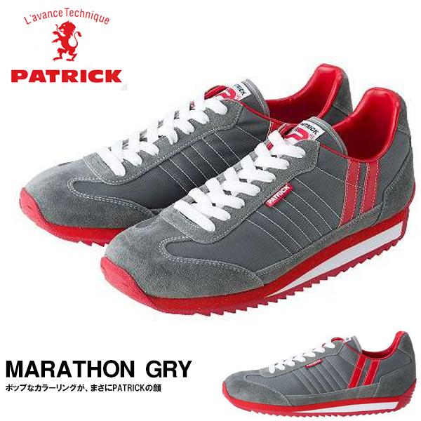送料無料 スニーカー パトリック PATRICK メンズ レディース マラソン MARATHON GRY グレー シューズ 靴 ナイロン メッシュ ベロア レザー ローカットシューズ