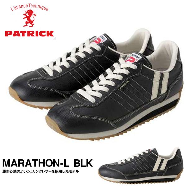 送料無料 スニーカー パトリック PATRICK メンズ レディース MARATHON-L BLK ブラック マラソン レザー シューズ 靴 レザーシューズ ローカットシューズ 日本製