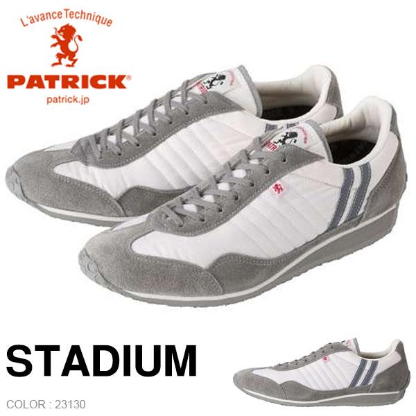 送料無料 パトリック スニーカー PATRICK レディース STADIUM WH/GY スタジアム 23130 日本製 ナイロン ベロア シューズ 靴