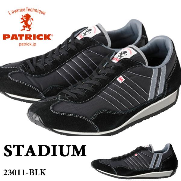送料無料 スニーカー パトリック PATRICK メンズ レディース スタジアム STADIUM BLK ブラック 黒 シューズ 靴 レトロ レトロランニング ローカット 日本製