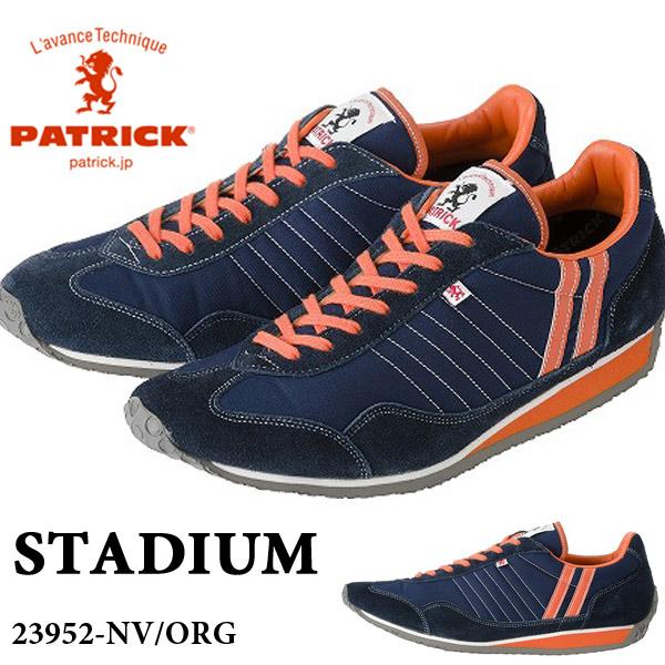 送料無料 スニーカー パトリック PATRICK メンズ レディース スタジアム STADIUM NV/ORG ネイビー オレンジ 紺 シューズ 靴 レトロ レトロランニング