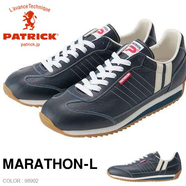 送料無料 パトリック スニーカー PATRICK レディース MARATHON-L NVY マラソン レザー 98902 日本製 本革 天然皮革 シューズ 靴