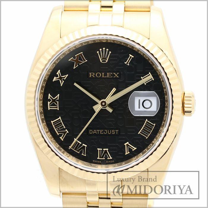 【最大3万円OFF&3倍】ロレックス ROLEX デイトジャスト 116238 メンズ ブラックコンピューター 18KYG K18金無垢 自動巻き /34754 【中古】 【クリーニング済】 腕時計