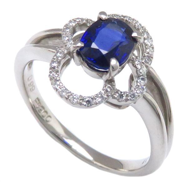 リング サファイア0.99ct ダイヤモンド0.11ct Pt900 14号 プラチナ 指輪/63157【中古】【クリーニング済】P_10