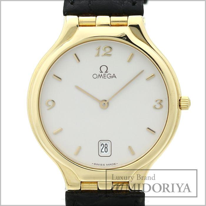 【最大3万円OFF&3倍】オメガ OMEGA デヴィル シンボル メンズ 腕時計 196.1316 デイト クォーツ YG/SS/レザー /34816 【中古】 デビル