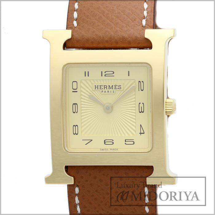 【最大3万円OFF&3倍】エルメス Hウォッチ HH1.501 純正革ベルト クォーツ メンズ 腕時計 /34845 未使用
