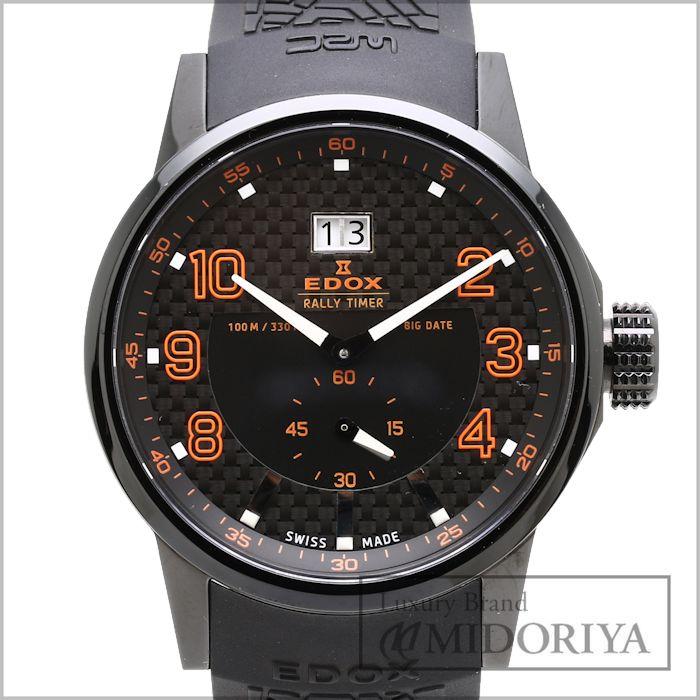 【最大5千円OFFクーポン】EDOX エドックス 腕時計 メンズ WRC ラリータイマー ブラックラバー 64008-37N-NOR オレンジ /34900 【中古】