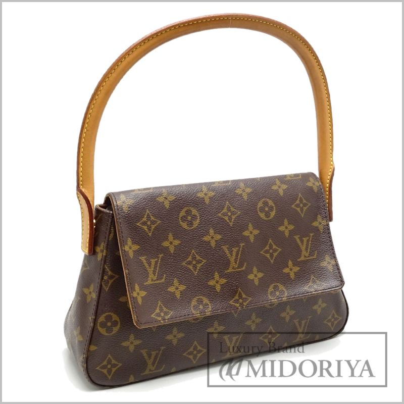 Auth Louis Vuitton Monogram Mini Looping Handbag M51147 Brown 59636 Free Ship