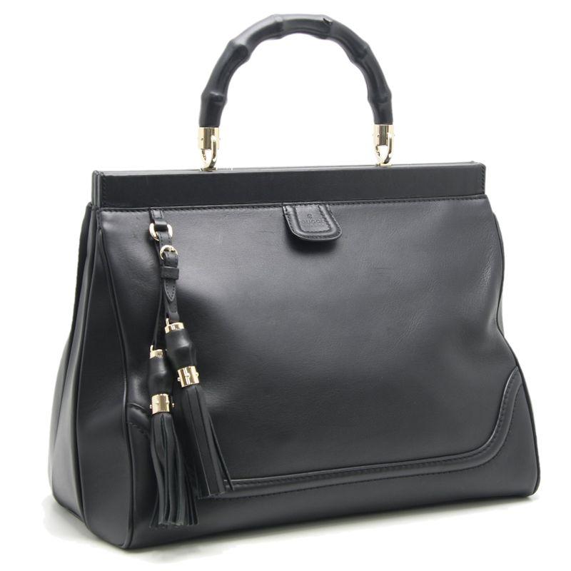 02e87895a Authentic GUCCI Bamboo Handbag Tassel 296860 Leather Black /59658 FREE  SHIPPING ...