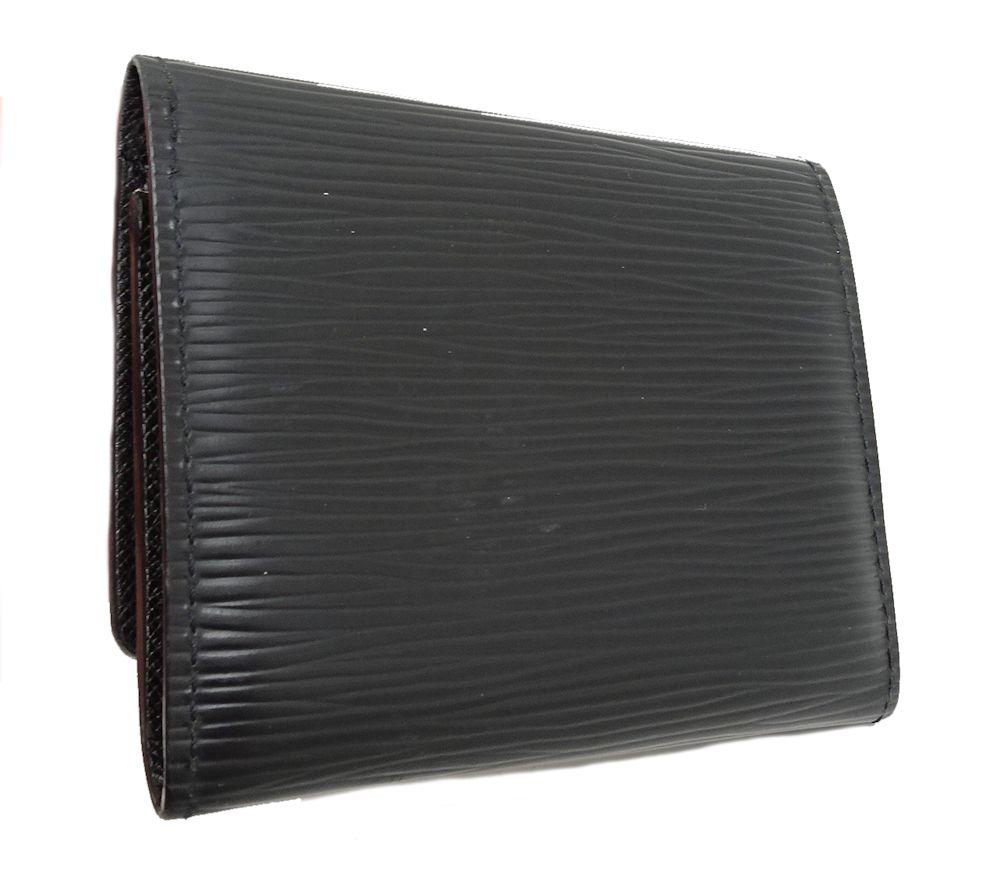 Auth LOUIS VUITTON Epi Enveloppe Carte De Visite Card Case M62292 Noir 041024