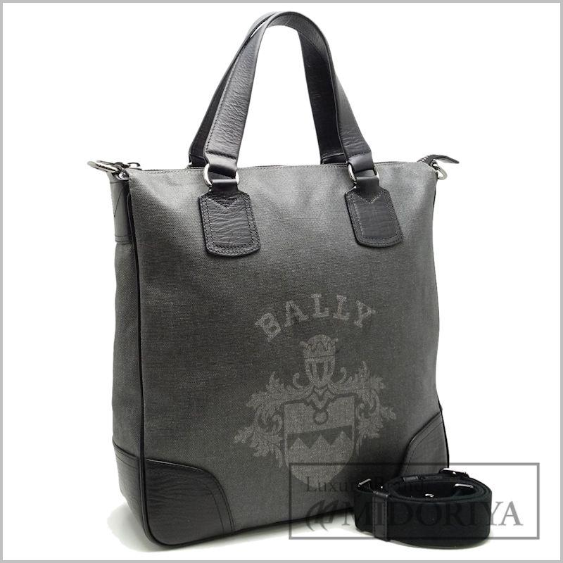 【中古】 黒 ハンドバッグ BALLY コーティングキャンバス×レザー (バリー)