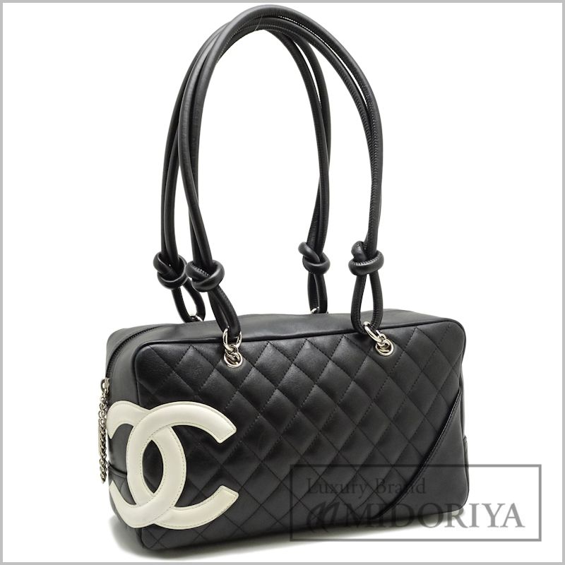 Auth CHANEL Cambon Line Bowling Bag Handbag A25171 Black White 59960 FREE SHIP
