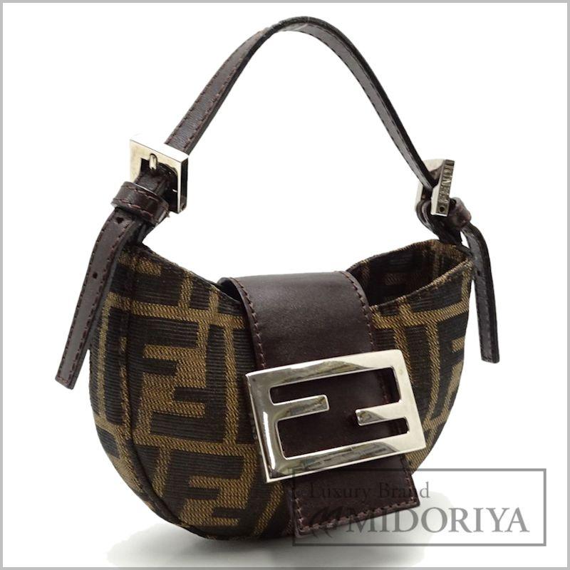 Authentic Fendi Mini Croissant Zucca Handbag Khaki Brown 050101 Free Shipping