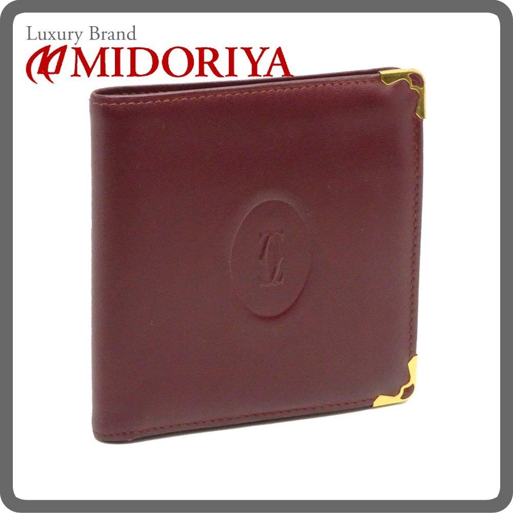 カルティエ Cartier コンパクト 財布 二つ折り マストライン ボルドー /041265【中古】