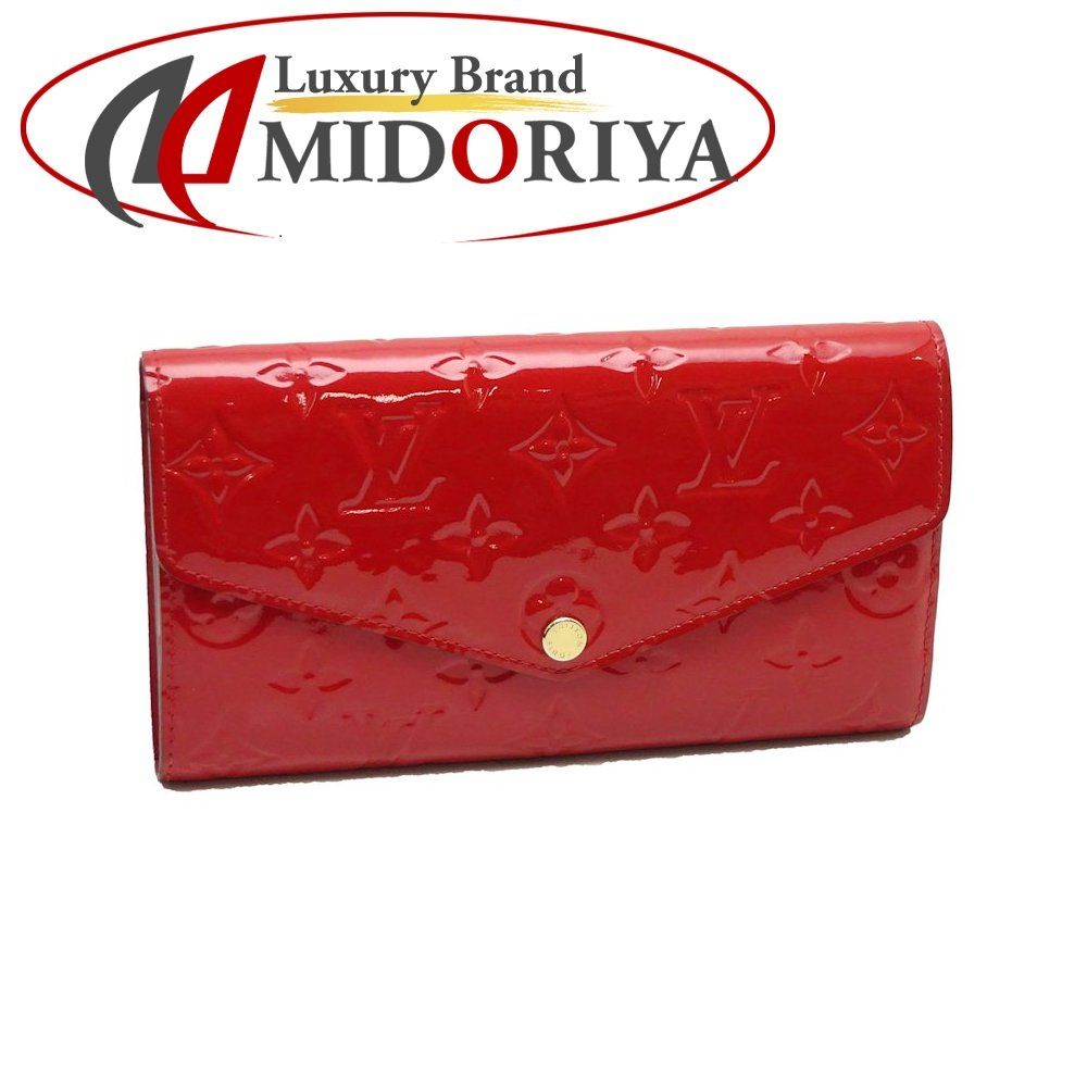 d35bc1d2b5881 Pawn shop MIDORIYA PHASE  Authentic LOUIS VUITTON Vernis Sarah Wallet  M90208 Cerises  041366 FREE SHIPPING