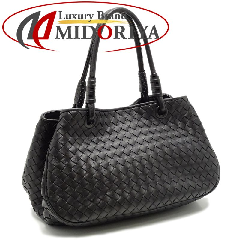 83f0cb3989 Authentic BOTTEGA VENETA Intrecciato Handbag 14823 Black  050338 FREE  SHIPPING