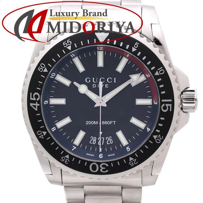 【最大3万円OFF&3倍】グッチ GUCCI DIVE ダイブ XL メンズ ブラック YA136212 /35084 【中古】 腕時計