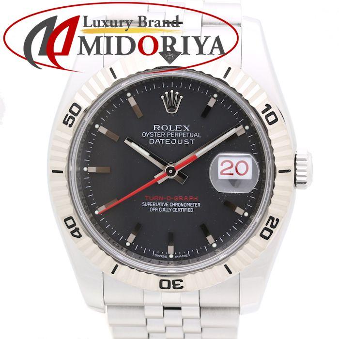 【最大3万円OFF&3倍】ロレックス ROLEX メンズ デイトジャスト ターノグラフ オートマチック 116264 回転ベゼル ブラック WG SS /35130 【中古】 腕時計