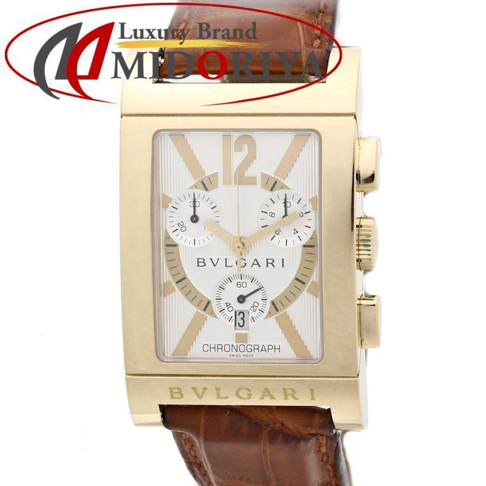 【最大3万円OFF&3倍】ブルガリ BVLGARI レッタンゴロ クロノグラフ RTC49G YG/革 メンズ クォーツ /35144 【中古】 腕時計