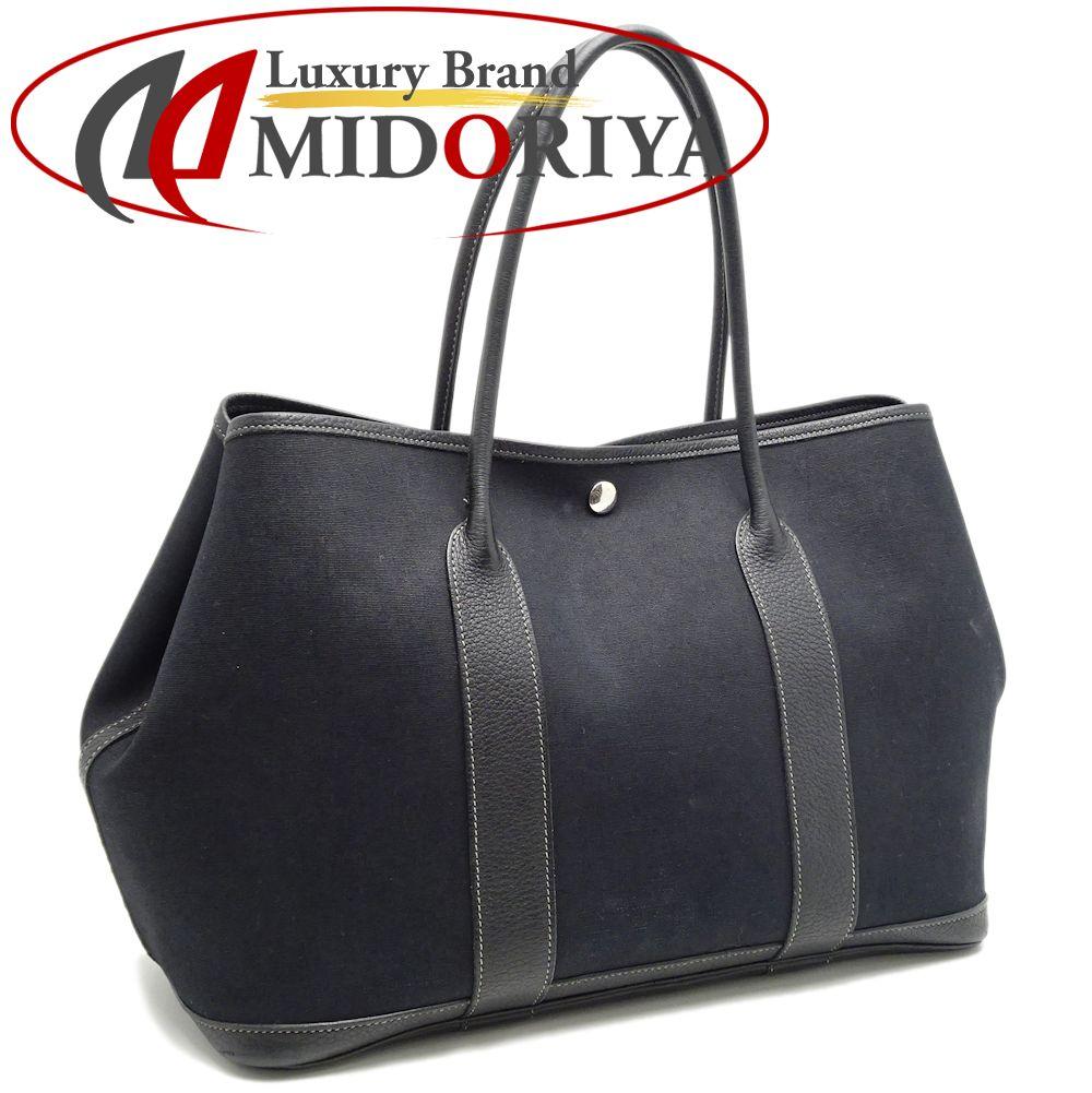 8a31c39ce66b Hermes HERMES garden party PM tote bag canvas X leather black black  050624