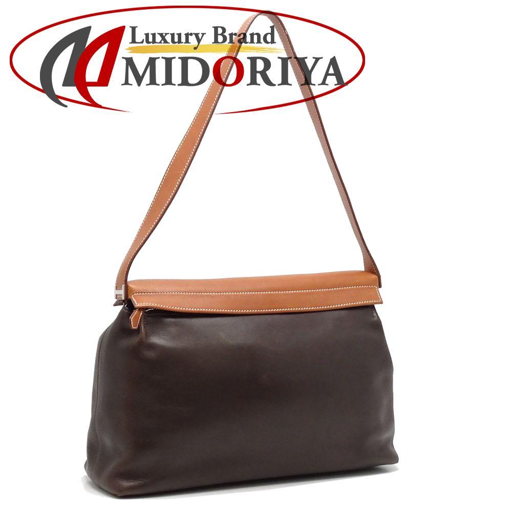 107950dc7d92 Authentic HERMES Yeoh Bag Shoulder Bag Veau Barenia Dark Brown  050656 FREE  SHIP