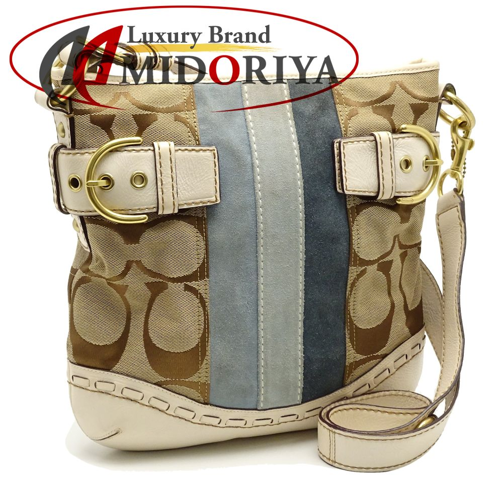 86d28477b243 Auth COACH Signature Pattern Shoulder Bag Crossbody 7055 White Brown  Blue 050702