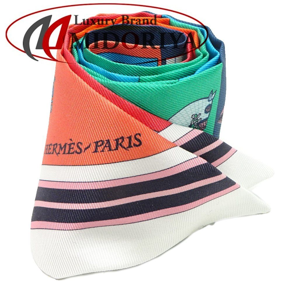 エルメス HERMES ツイリー シルク 新しいブランケット Couvertures Nouvelles ☆未使用 バッグ リボンスカーフ /041787