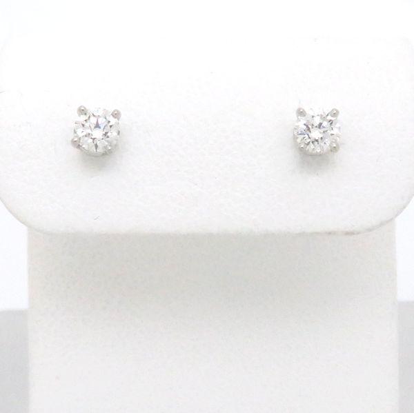 Authentic Tiffany Co Platinum 950 Solitaire Diamond Earrings 097876