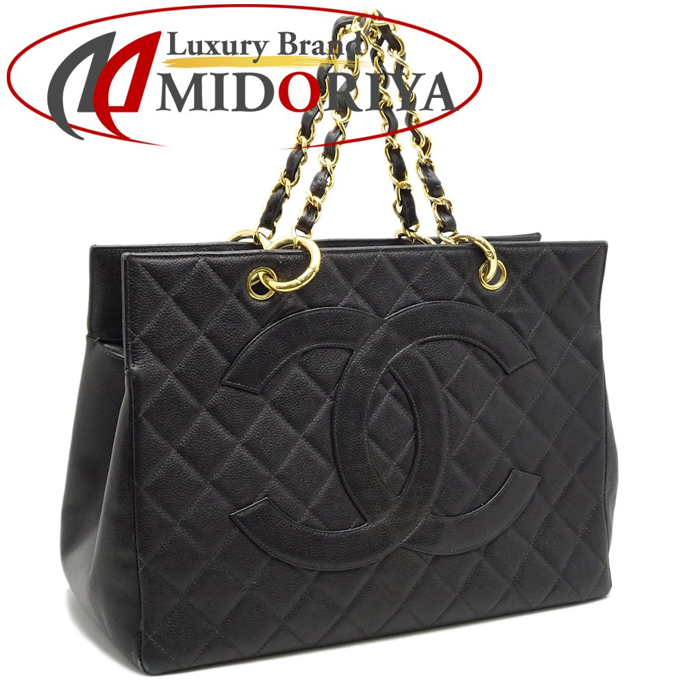 d57ee6c846e9 Chanel CHANEL chain tote bag matelasse caviar skin black black /050688