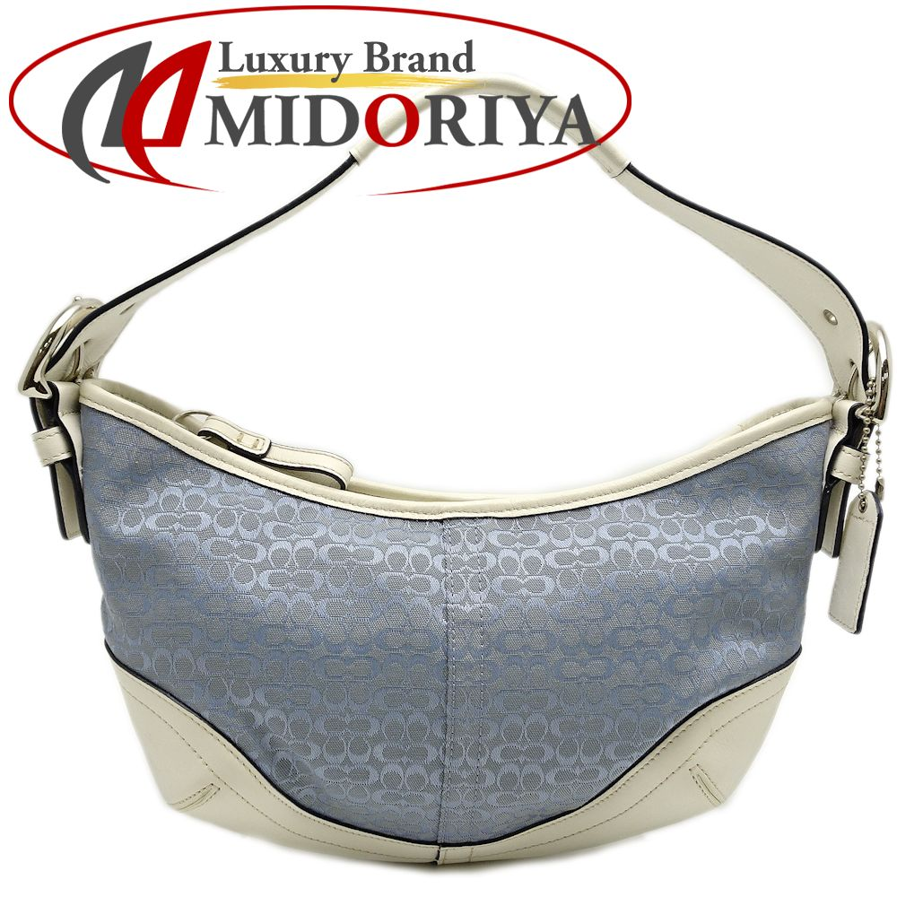 164a819e98d4 Coach COACH 6351 handbag semi-shoulder mini-signature blue X white  051017