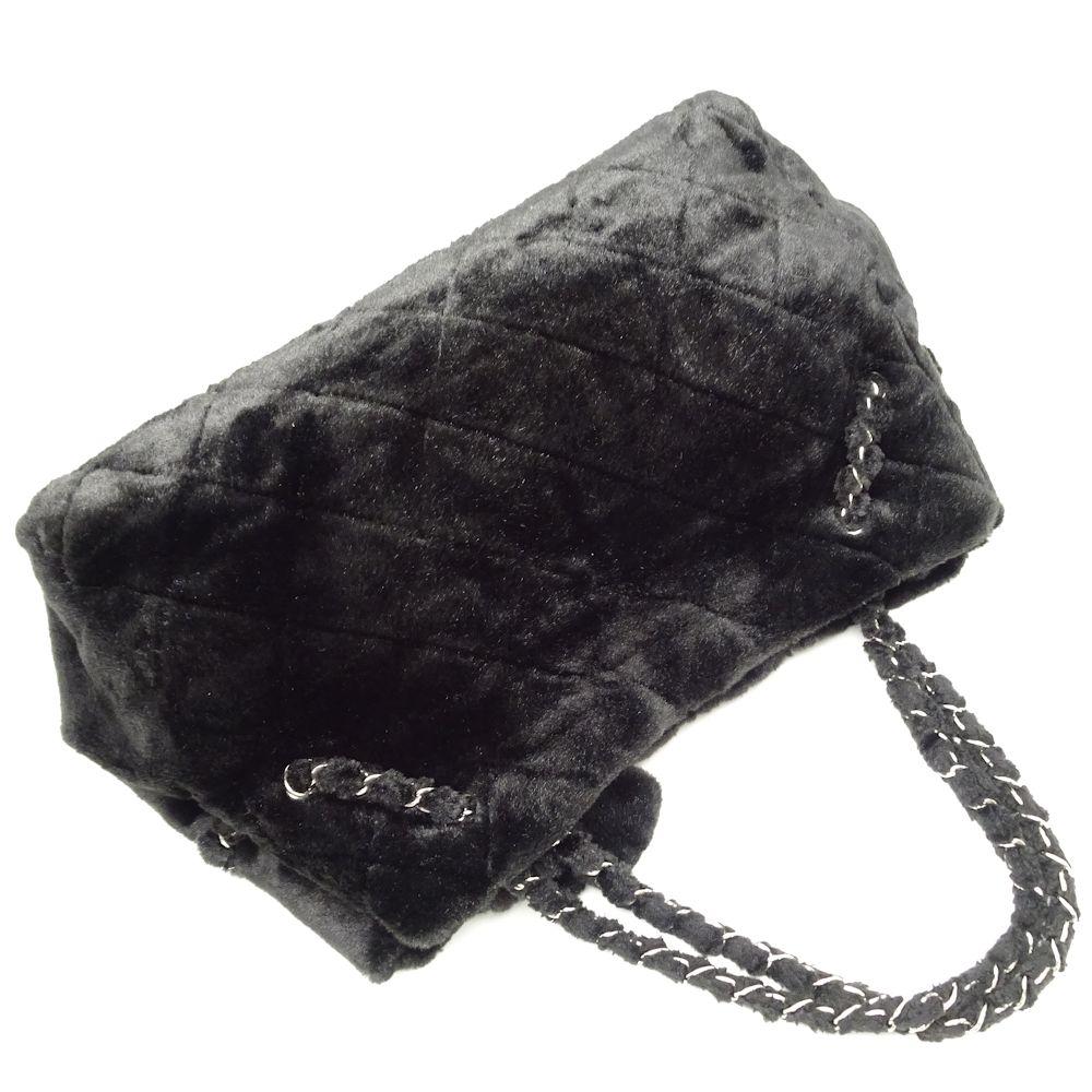 19aafe33a3e8 ... Authentic CHANEL Chain Shoulder Tote Bag A47571 Eco Fur Black /051085 FREE  SHIP ...