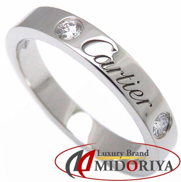 【最大3万円OFF&3倍】カルティエ Cartier エングレーブドリング ダイヤモンド2P Pt950 #50 10号 指輪/098067【中古】