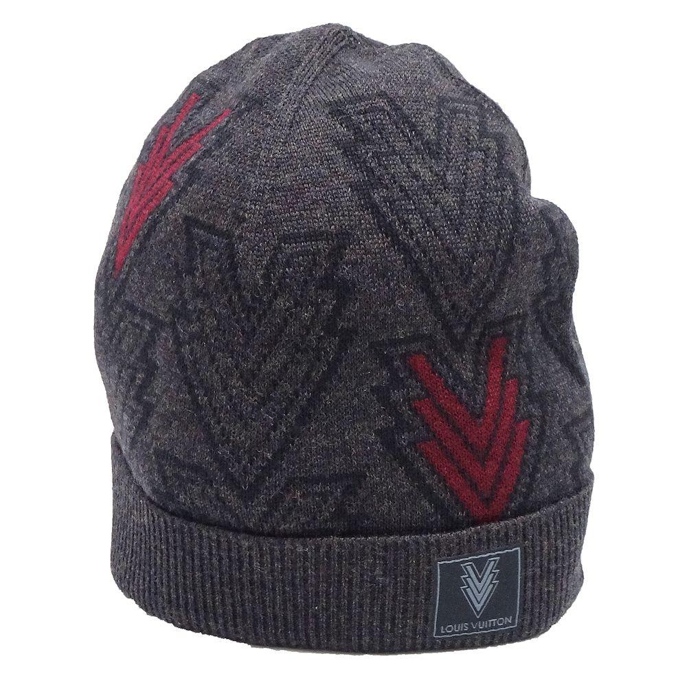 7e804799f4d Louis Vuitton LOUIS VUITTON hat triple V knit hat men charcoal gray wool  M70013  041971