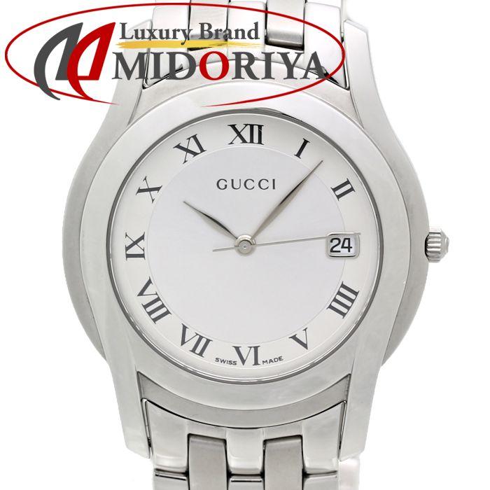 【最大3万円OFF&3倍】グッチ GUCCI Gクラス YA055305 5500M メンズ シルバー /35266 【中古】 腕時計
